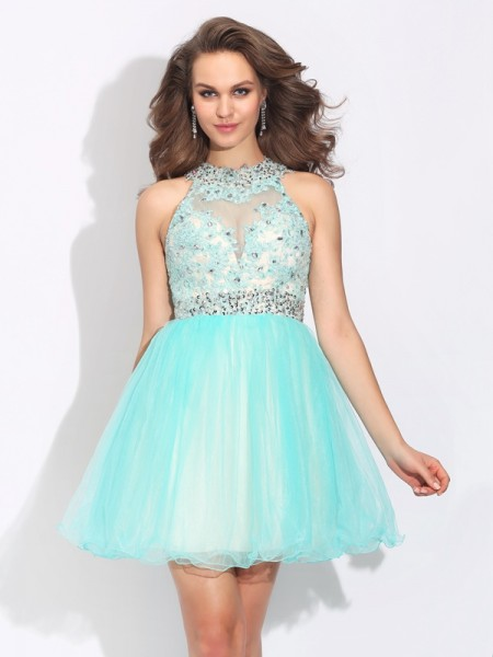 A-Line High Neck Lace Short Net Homecoming Dresses