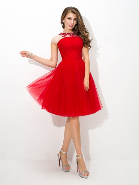A-Line Sheer Neck Applique Short Net Homecoming Dresses