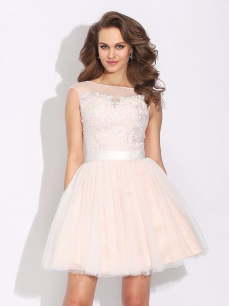 A-Line Bateau Ruffles Short Net Homecoming Dresses