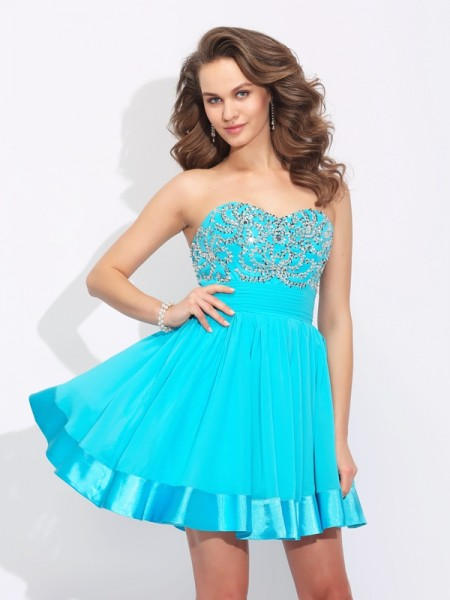 A-Line Sweetheart Ruffles Short Chiffon Homecoming Dresses