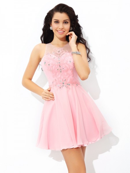 A-Line Sheer Neck Applique Short Chiffon Homecoming Dresses