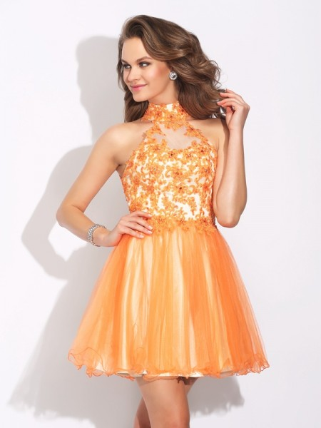 A-Line High Neck Ruffles Short Net Homecoming Dresses
