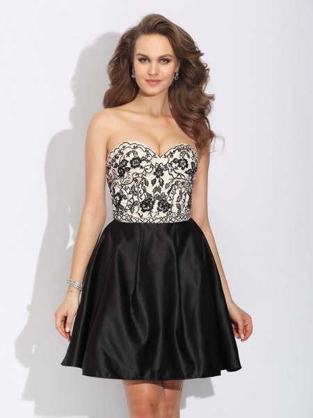 A-Line Sweetheart Bowknot Short Satin Dresses
