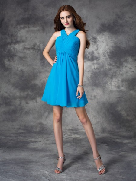 A-Line V-neck Ruffles Short Silk like Satin Dresses