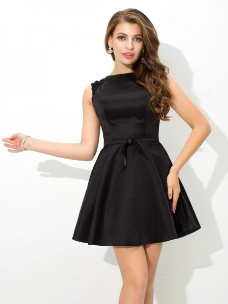 A-Line High Neck Sash/Ribbon/Belt Short Satin Homecoming Dresses
