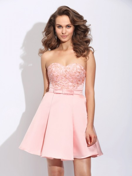 A-Line Sweetheart Ruffles Short Satin Dresses