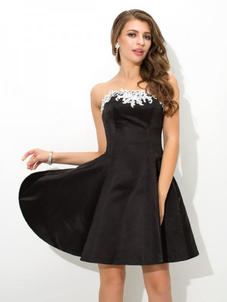 A-Line Strapless Applique Short Satin Homecoming Dresses