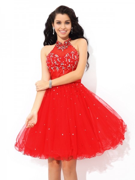 A-Line High Neck Beading Short Net Homecoming Dresses