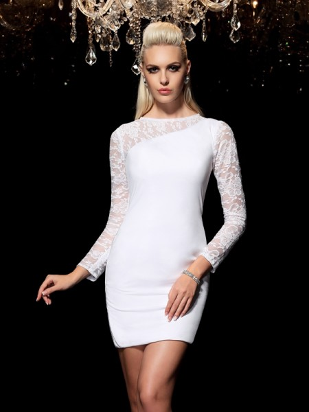 Sheath Scoop Lace Short Elastic Woven Satin Homecoming Dresses