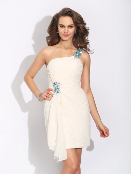 Sheath One-Shoulder Beading Short Chiffon Dresses