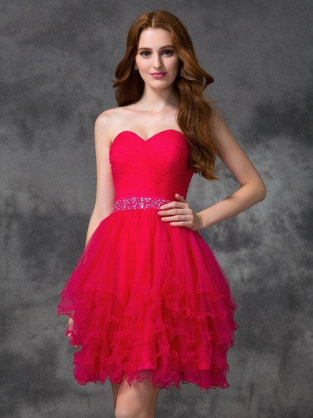 A-Line Sweetheart Beading Short Satin Homecoming Dresses