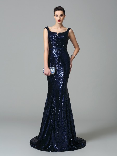 Mermaid Straps Sequins Prom Dresses