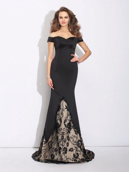 Mermaid Off-the-Shoulder Lace Satin Prom Dresses