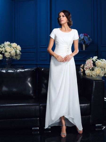 A-Line Scoop High Low Chiffon Mother of the Bride Dresses