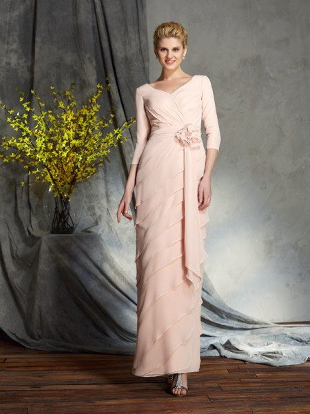 Sheath V-neck Hand-Made Flower Chiffon Mother of the Bride Dresses