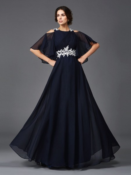 A-Line Straps Applique Chiffon Mother of the Bride Dresses