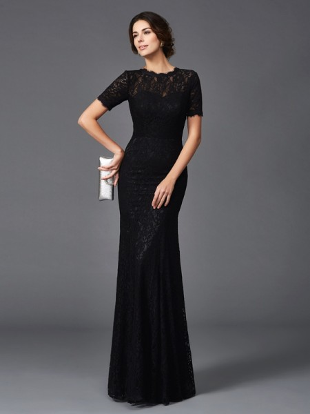 Sheath Jewel Lace Elastic Woven Satin Mother of the Bride Dresses