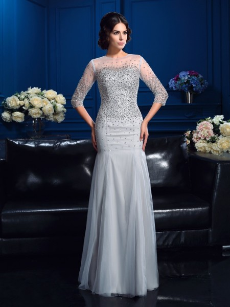 Sheath Scoop Beading Net Mother of the Bride Dresses