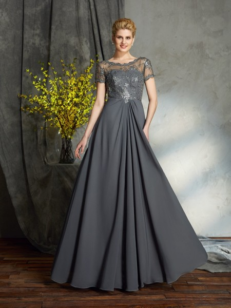 A-Line Scoop Applique Chiffon Mother of the Bride Dresses