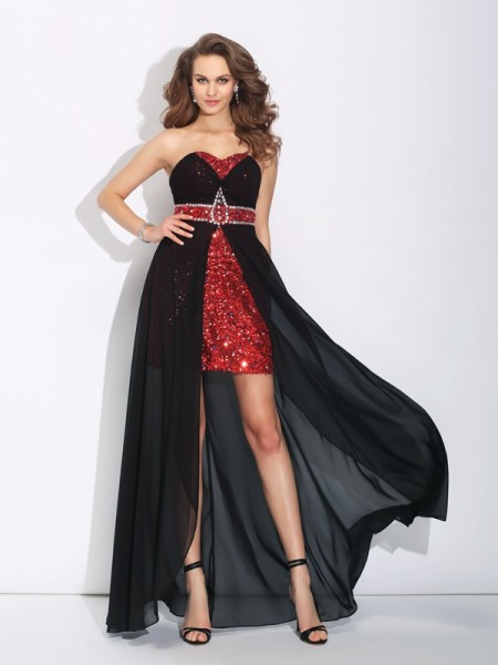 A-Line Sweetheart Sequin High Low Chiffon Prom Dresses