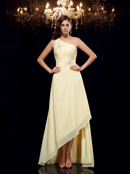 A-Line One-Shoulder Beading High Low Chiffon Prom Dresses
