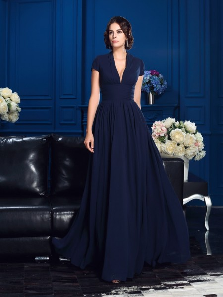 A-Line V-neck Applique Chiffon Mother of the Bride Dresses
