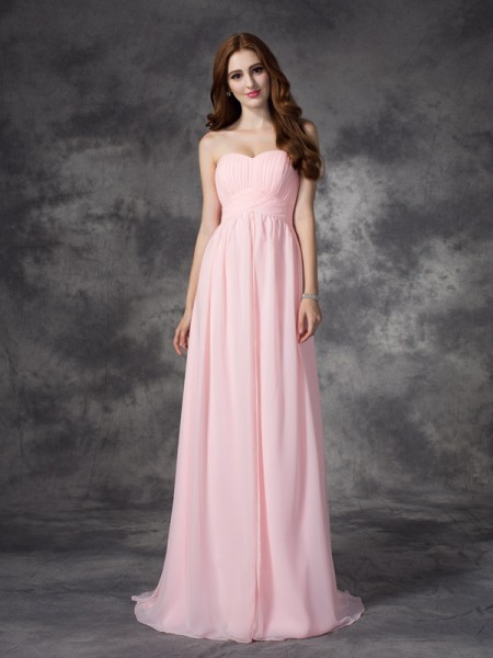 A-Line Sweetheart Ruched Chiffon Prom Dresses