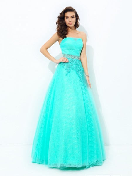 A-Line Strapless Beading Elastic Woven Satin Prom Dresses