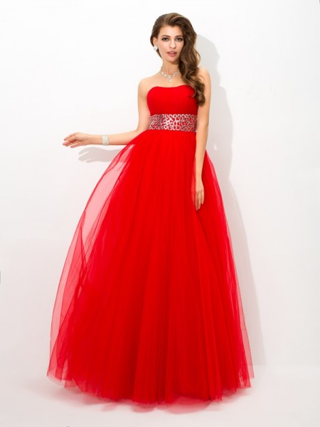 Strapless Beading Net Ball Gown Quinceanera Prom Dresses