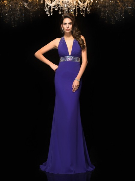 Mermaid V-neck Beading Chiffon Prom Dresses
