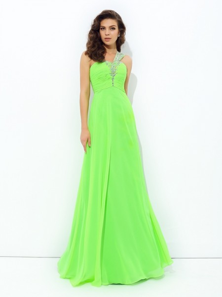 A-Line One-Shoulder Rhinestone Chiffon Prom Dresses