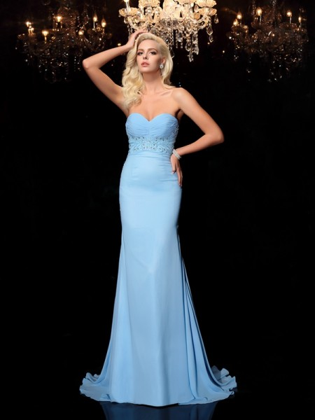 Mermaid Sweetheart Rhinestone Chiffon Prom Dresses