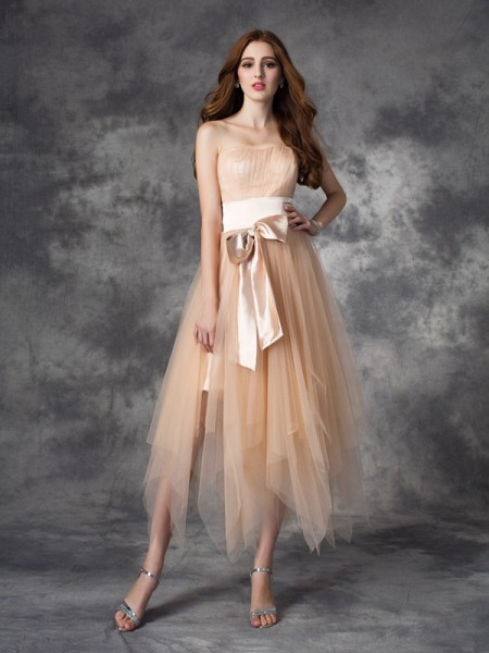 A-Line Strapless Bowknot Elastic Woven Satin Prom Dresses