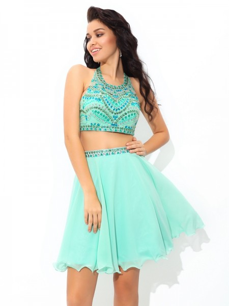 A-Line Sheer Neck Rhinestone Short Chiffon Two Piece Homecoming Dresses