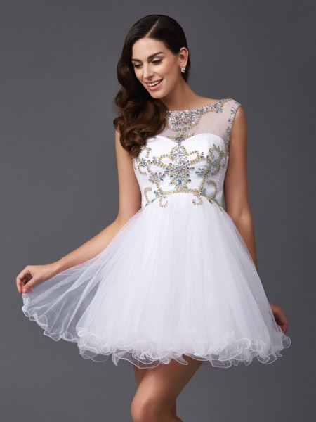 A-Line Scoop Beading Short Net Prom Dresses