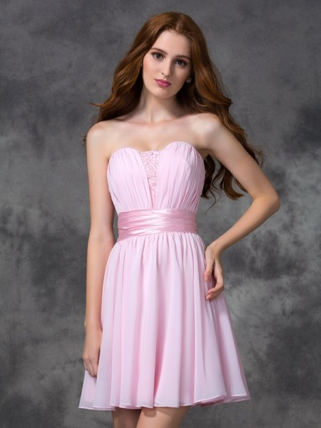 A-Line Sweetheart Ruched Short Chiffon Prom Dresses