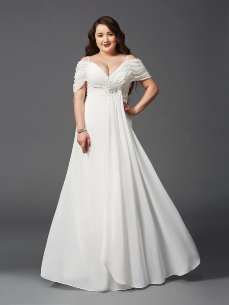 A-Line Off-the-Shoulder Ruched Chiffon Plus Size Prom Dresses