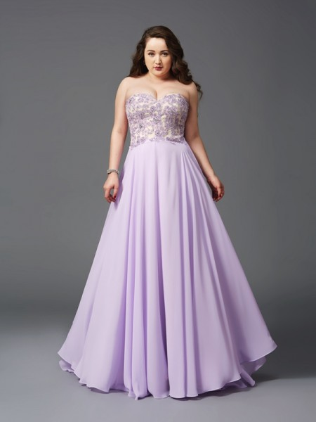 A-Line Sweetheart Lace Chiffon Plus Size Prom Dresses
