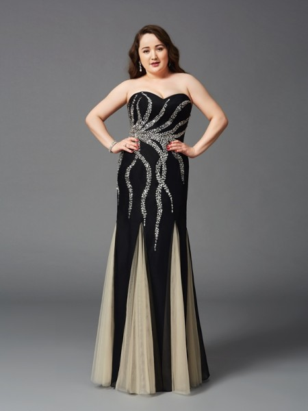 Sheath Sweetheart Beading Chiffon Plus Size Prom Dresses