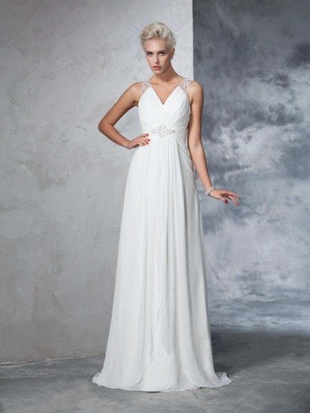 A-Line V-neck Ruched Chiffon Wedding Dresses