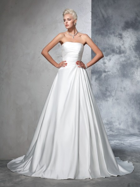 Strapless Ruched Satin Ball Gown Wedding Dresses