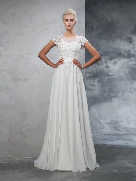 A-Line Sheer Neck Applique Chiffon Wedding Dresses
