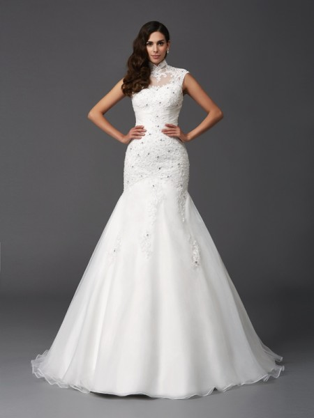 Mermaid High Neck Beading Organza Wedding Dresses
