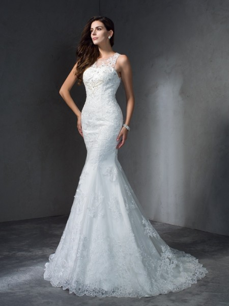 Mermaid Scoop Applique Lace Wedding Dresses