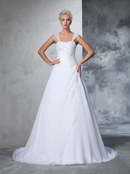 Straps Applique Chiffon Ball Gown Wedding Dresses