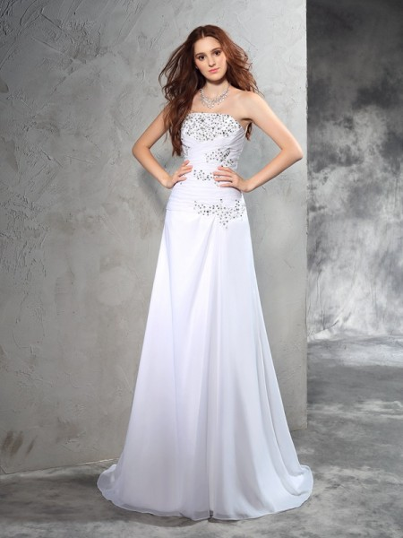 Sheath Strapless Beading Chiffon Wedding Dresses