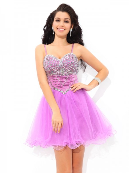 A-Line Spaghetti Straps Paillette Short Net Homecoming Dresses
