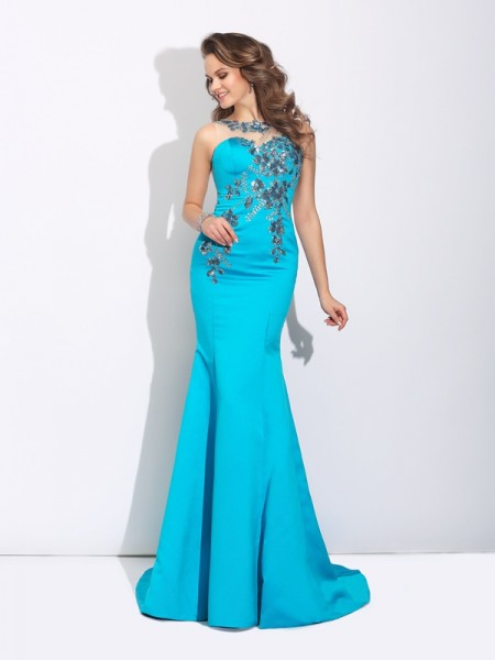 Mermaid Scoop Applique Satin Prom Dresses
