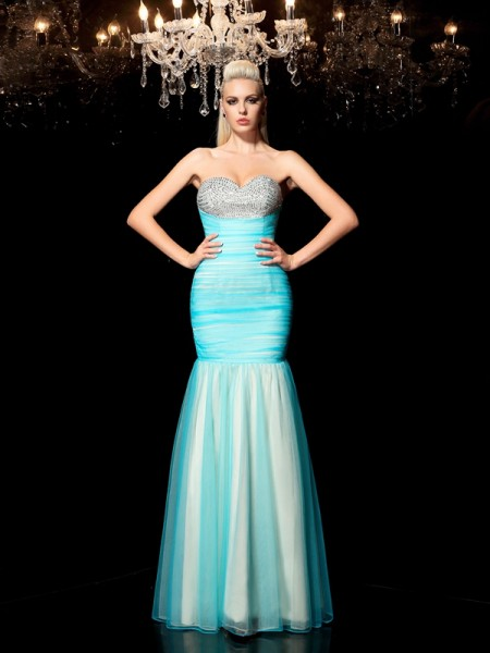 Sheath Sweetheart Sequin Net Prom Dresses