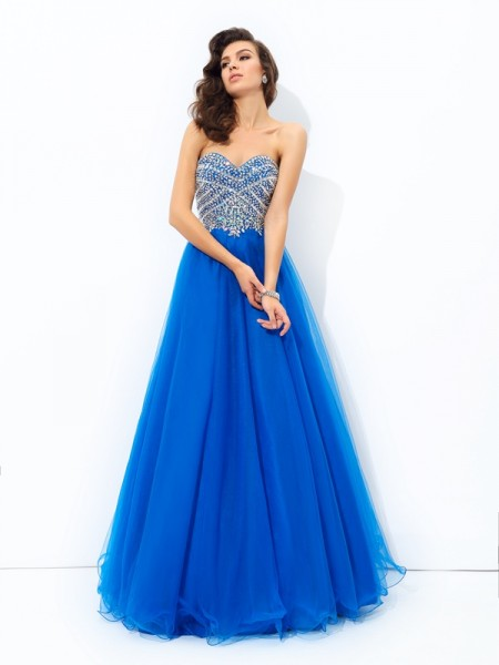 A-Line Sweetheart Sequin Net Prom Dresses